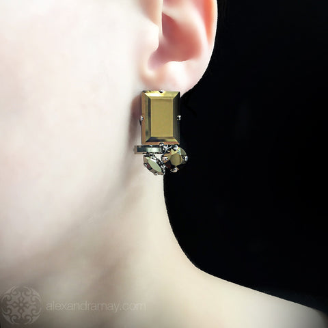 Philippe Ferrandis 'Icône' Metallic Bronze Rectangle Cluster Clip-on Earrings (ICO101) model