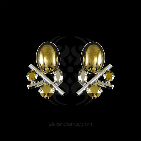 Philippe Ferrandis 'Icône' Metallic Bronze Oval & Silver Cylinder Clip-on Earrings (ICO107) front