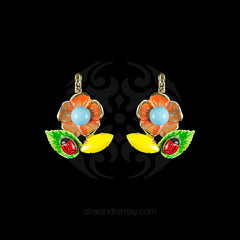 Philippe Ferrandis 'Samarcande' Orange Daisy Hook Earrings (SMK104/1) front