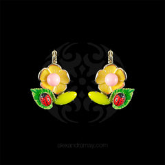 Philippe Ferrandis 'Samarcande' Yellow Flower Hook Earrings (SMK104/2) front