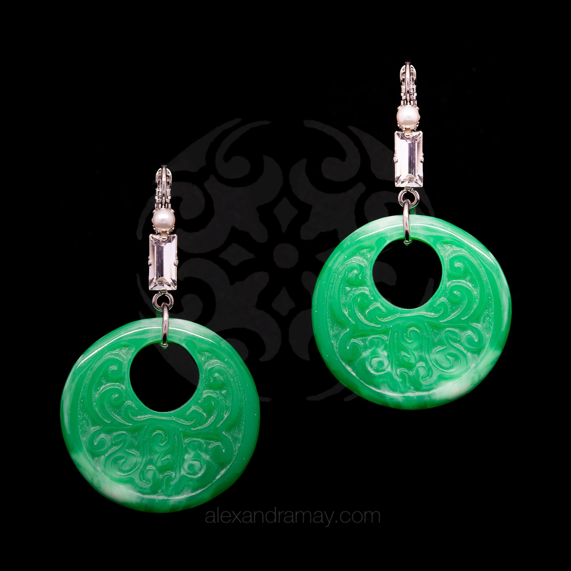 Philippe Ferrandis 'Orient Express' Jade Hoop Earrings (ORE 103/1)