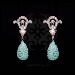 Philippe Ferrandis 'Orient Express' Crystal, Pearl and Turquoise Teardrop Clip-on Earrings (ORE 106/1)