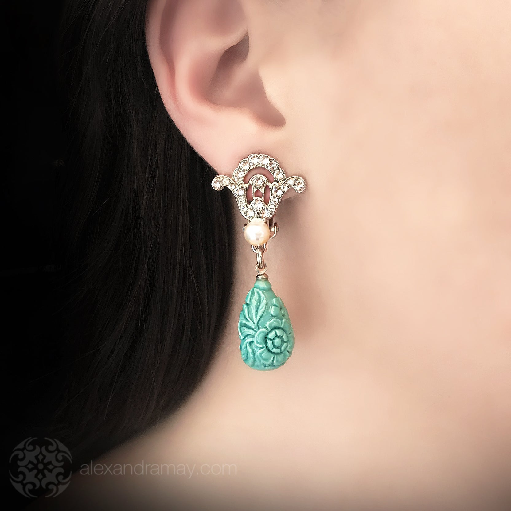 Philippe Ferrandis 'Orient Express' Crystal, Pearl and Turquoise Teardrop Clip-on Earrings (ORE 106/2) Model