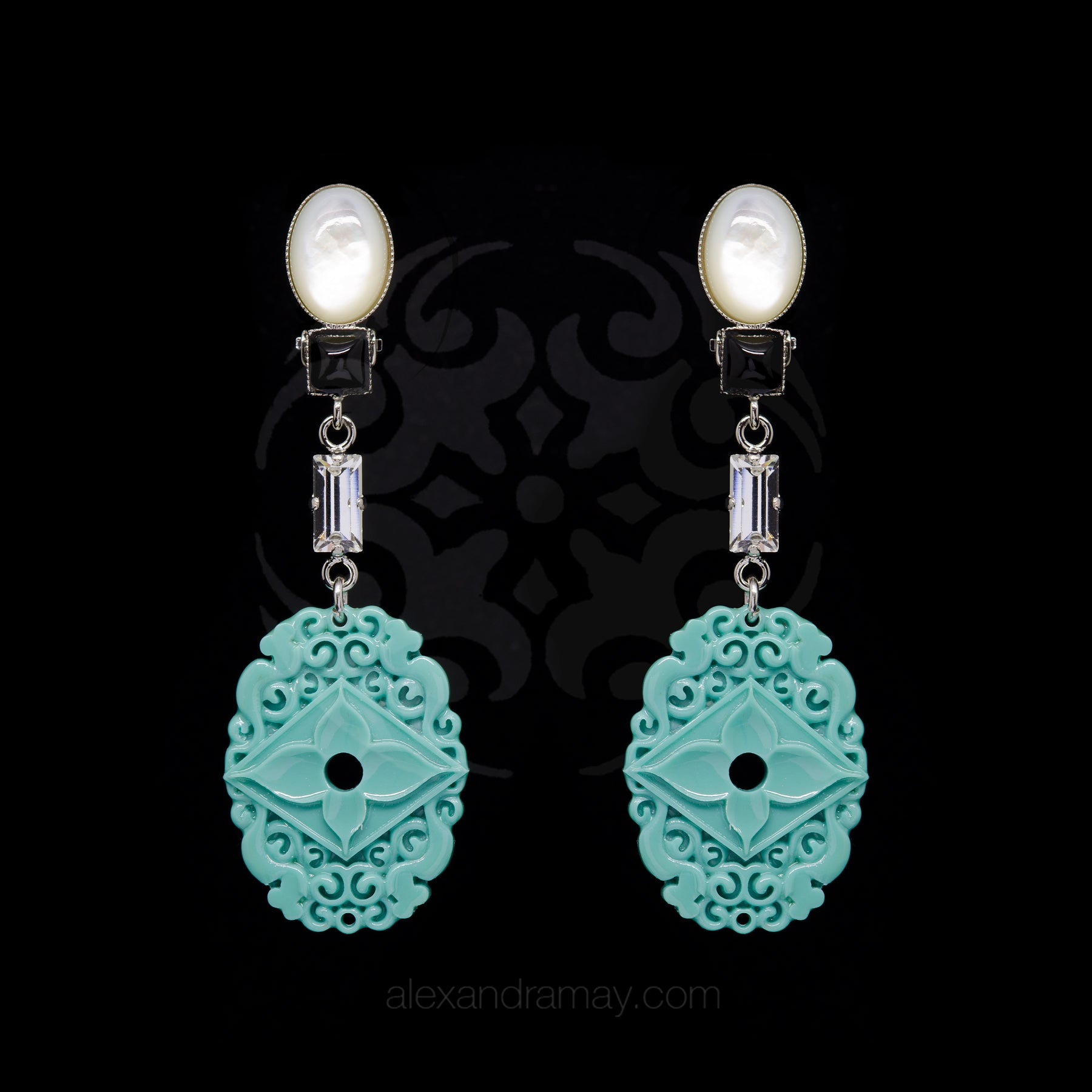 Philippe Ferrandis Orient Express Mother of Pearl and Turquoise Clip On Earrings (ORE 109/2)