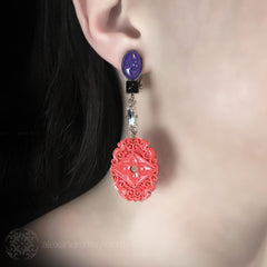Philippe Ferrandis 'Orient Express' Lavender and Coral Clip-on Earrings (ORE 109/1) model