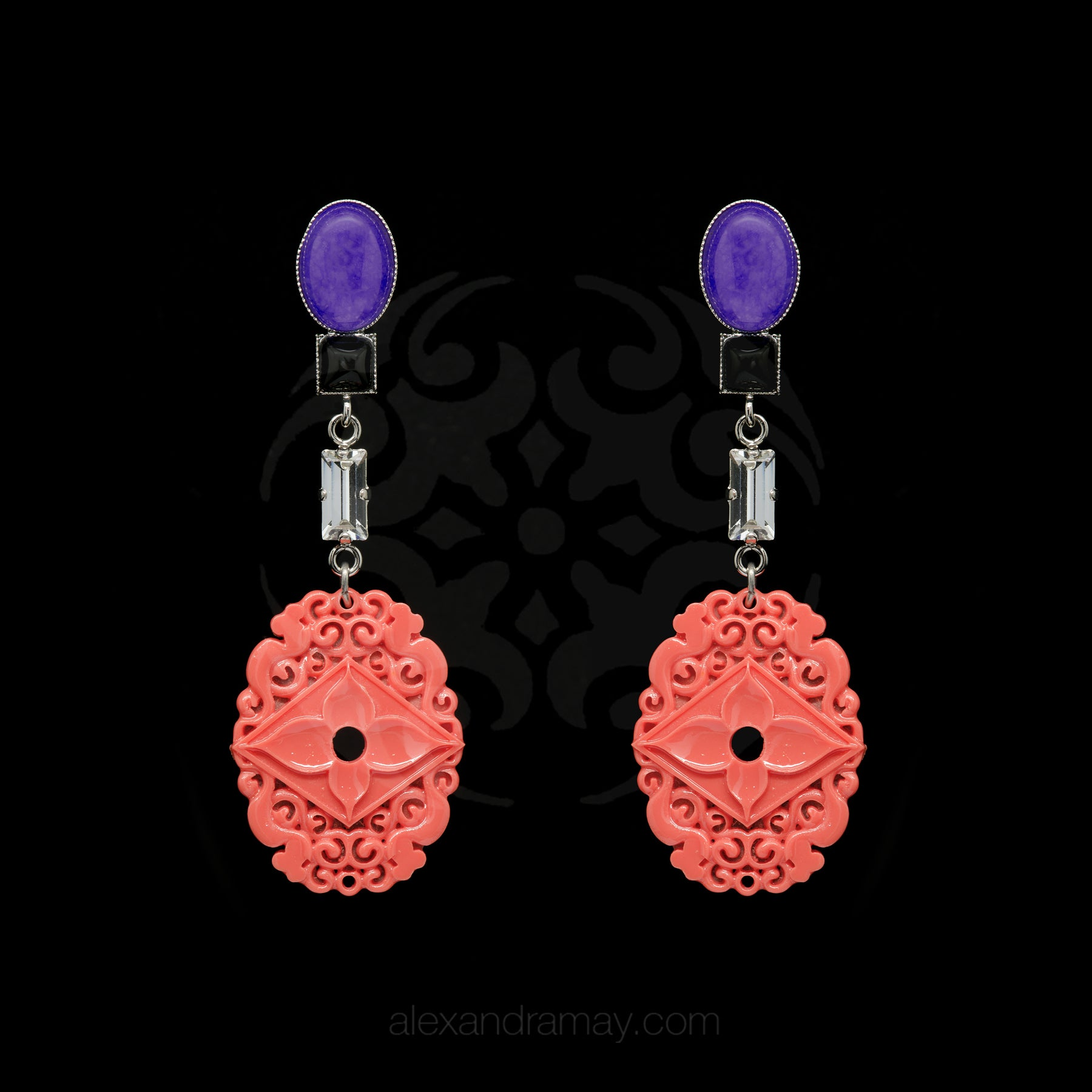 Philippe Ferrandis 'Orient Express' Lavender and Coral Clip-on Earrings (ORE 109/1)