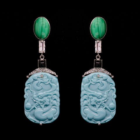Philippe Ferrandis 'Orient Express' Malachite & Turquoise Dragon Clip-on Earrings (ORE 113/2)