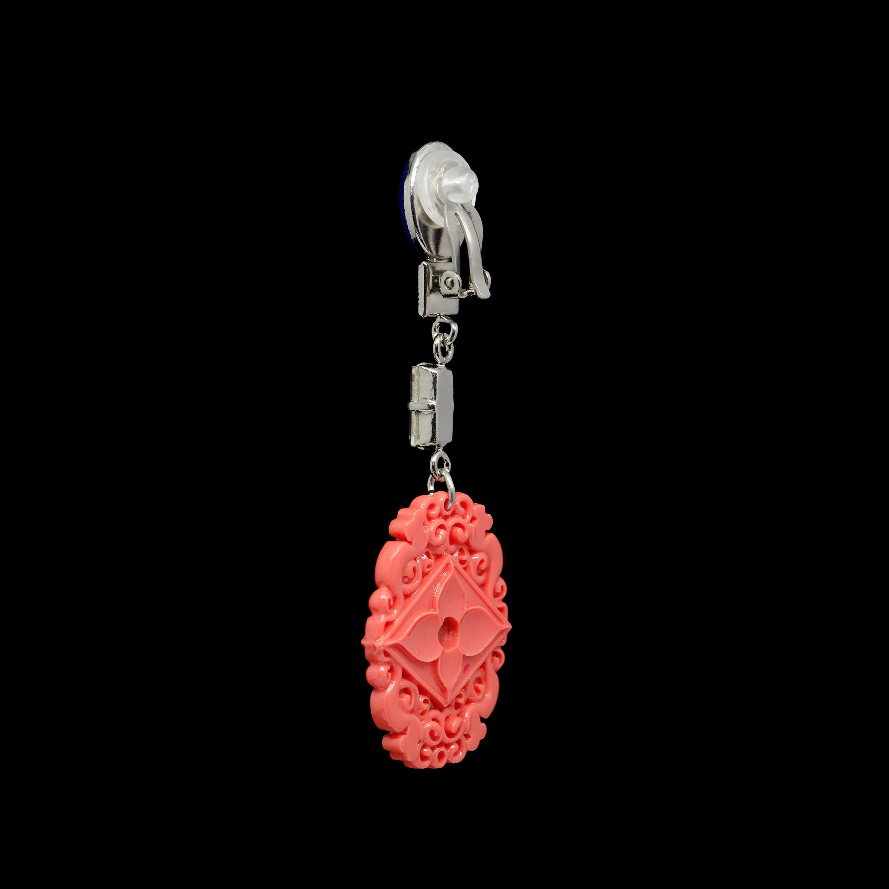 Philippe Ferrandis 'Orient Express' Lavender and Coral Clip-on Earrings (ORE 109/1) back