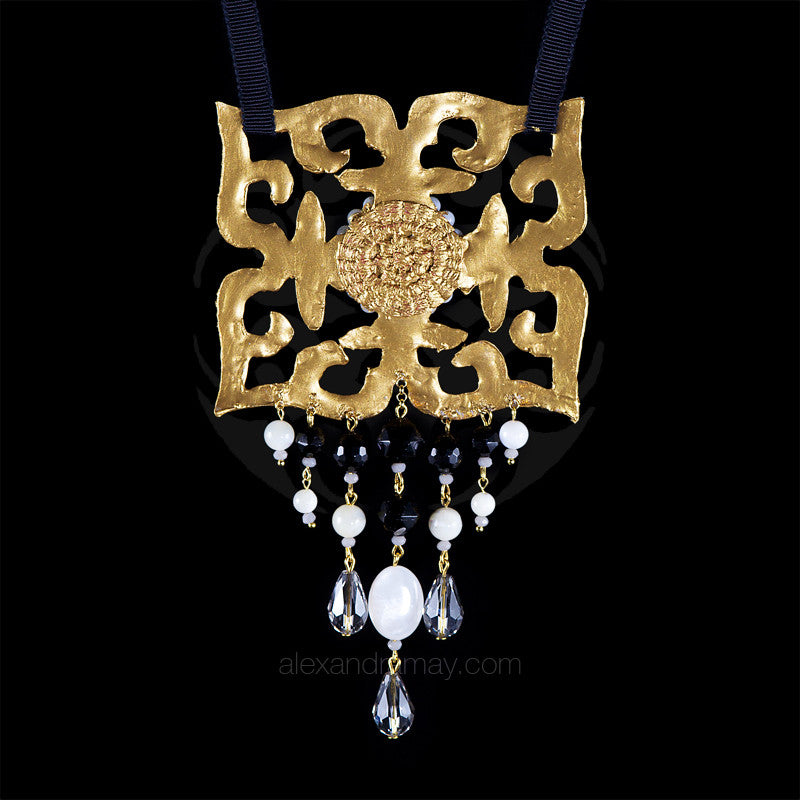 Ricardo Douaihi Mother of Pearl & Square Gold Lace Baroque Necklace (RD220)