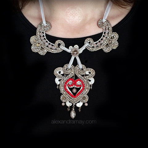 Ricardo Douaihi Red & Silver Bollywood Beaded Necklace (RD209)