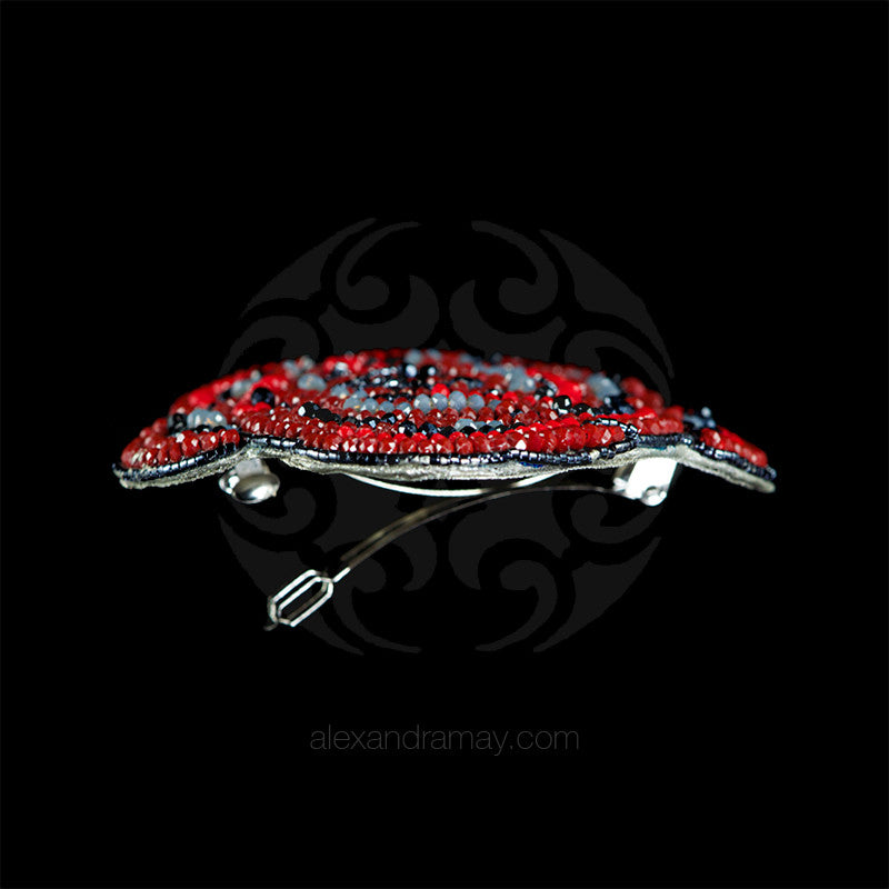 Ricardo Douaihi Large Red Rose Beaded Hair Clip (RD110)