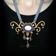 Ricardo Douaihi Small Gold & Mother of Pearl Scroll Beaded Necklace (RD215) model
