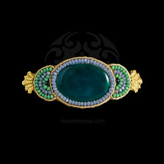 Ricardo Douaihi Medium Green Agate Gold Lace Hair Clip (RD111)