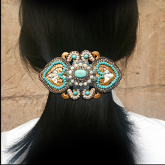 Ricardo Douaihi Large Gold Lace & Turquoisel Beaded Hair Clip (RD84) model
