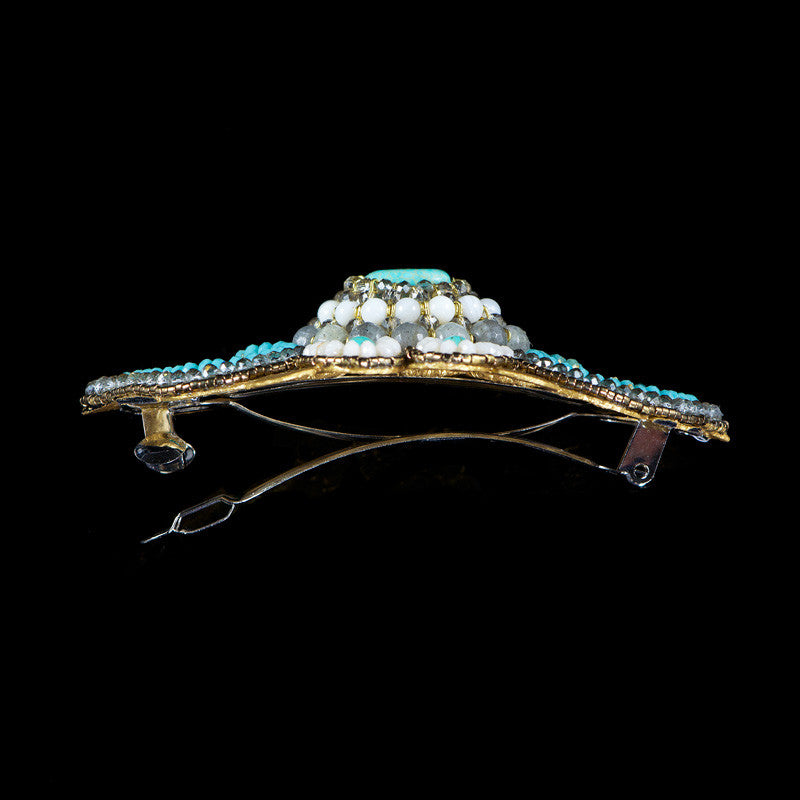 Ricardo Douaihi Large Gold Lace & Turquoisel Beaded Hair Clip (RD84) side
