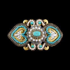 Ricardo Douaihi Large Gold Lace & Turquoisel Beaded Hair Clip (RD84)