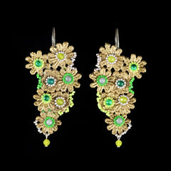 Ricardo Douaihi Medium Gold Floral Lace Green Beaded Earrings (RD72)