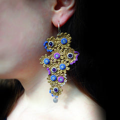 Ricardo Douaihi Large Gold Floral Lace Lilac Beaded Earrings (RD75) model