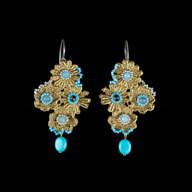 Ricardo Douaihi Small Gold Floral Lace Blue Beaded Earrings (RD74)