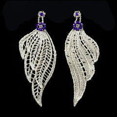 Ricardo Douaihi Silver Lace Amethyst Leaf Earrings  (RD37)