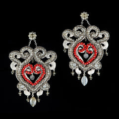Ricardo Douaihi Large Baroque Red & Silver Earrings (RD68)