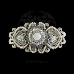 Ricardo Douaihi Large Silver & Grey Lace Mother of Pearl Beaded Hair Clip (RD200)
