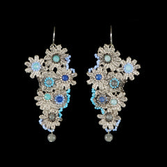 Ricardo Douaihi Medium Silver Floral Lace Blue Beaded Earrings (RD71)