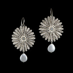 Ricardo Douaihi Silver Lace & Crystal Wheel Hook Earrings (RD70)