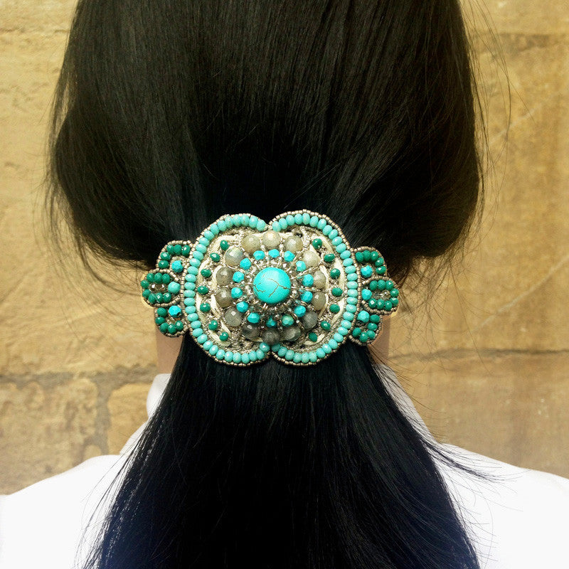 Ricardo Douaihi Medium Silver Lace & Turquoise Beaded Hair Clip (RD85)