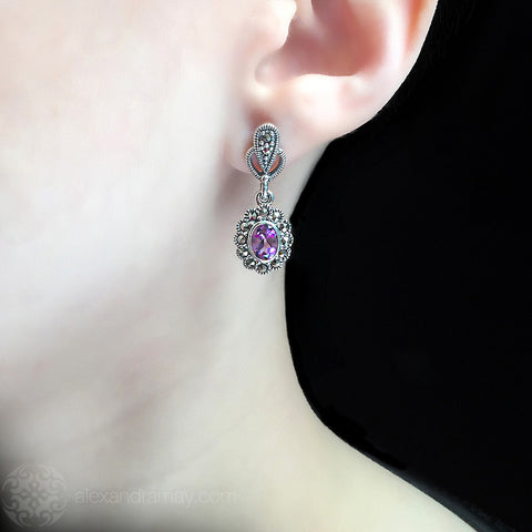 Luke Stockley Marcasite Small Amethyst Oval Drop Earrings (HE343AM) model