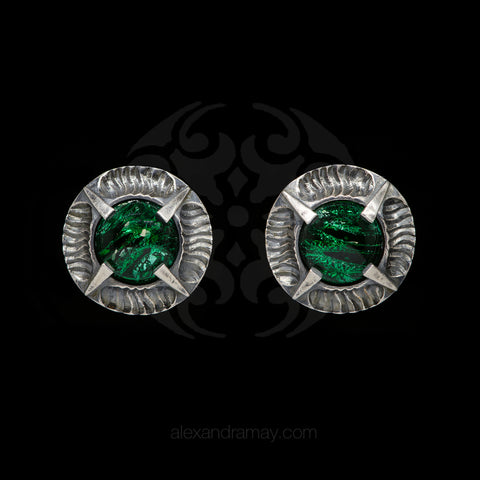 Simon Harrison Fabulous Clip-On Emerald Angevin Earrings (SHJ081-E) Front