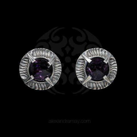 Simon Harrison Fabulous Clip-On Amethyst Angevin Earrings (SHJ081-A) Front