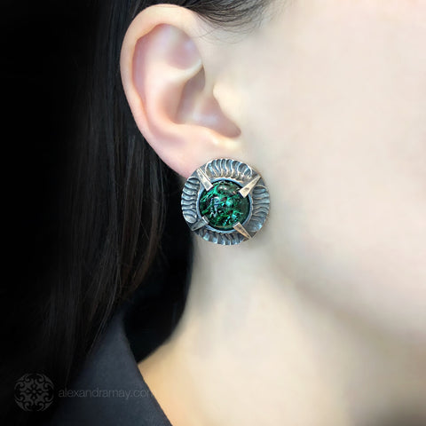 Simon Harrison Fabulous Clip-On Emerald Angevin Earrings (SHJ081-E) Model