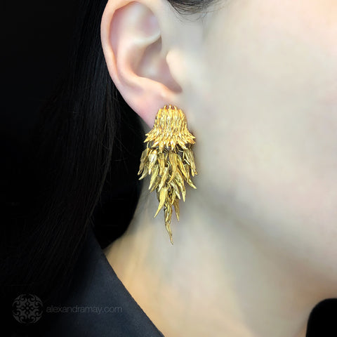 Simon Harrison Fabulous Dionysus Gold Bear Drop Earrings (SHJ180- Gld) Model