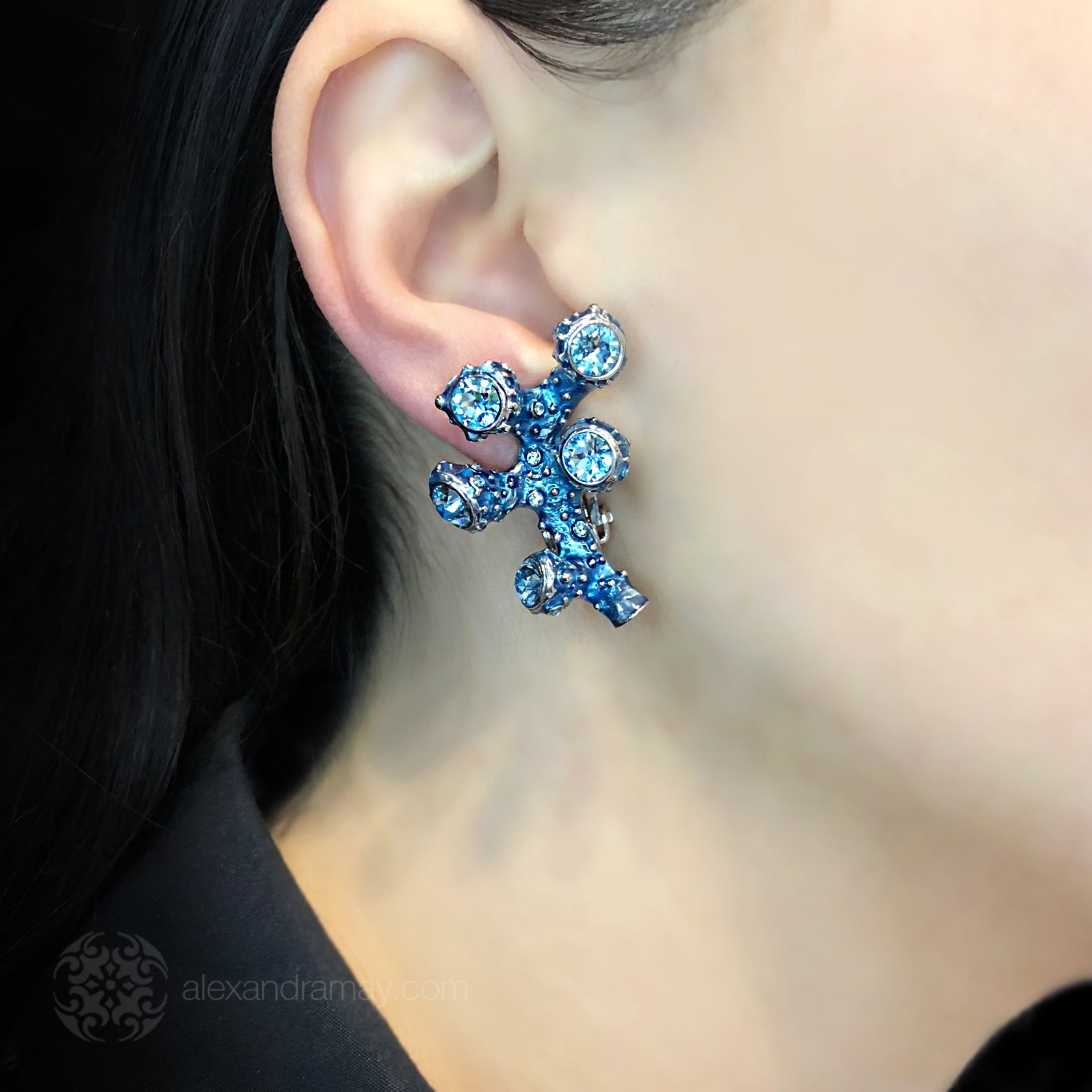Simon Harrison Fabulous Clip-On Blue Coral Earrings (SHJ192-B) Model