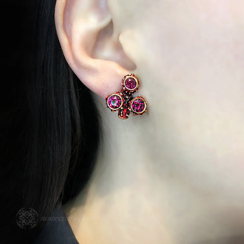 Simon Harrison Fabulous Small Red Coral Earrings (SH5189) Model