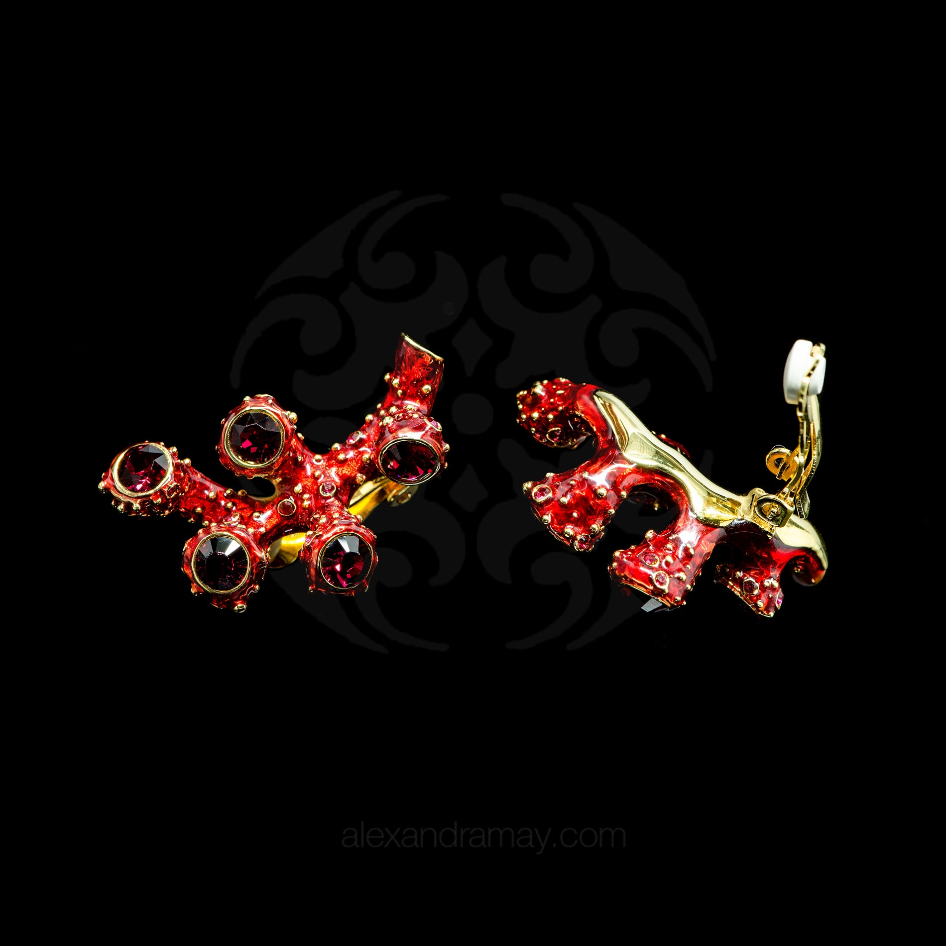 Simon Harrison Fabulous Clip-On Red Coral Earrings (SHJ192-R) Detail