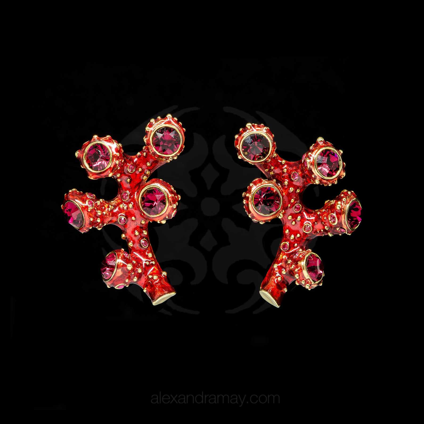 Simon Harrison Fabulous Clip-On Red Coral Earrings (SHJ192-R)