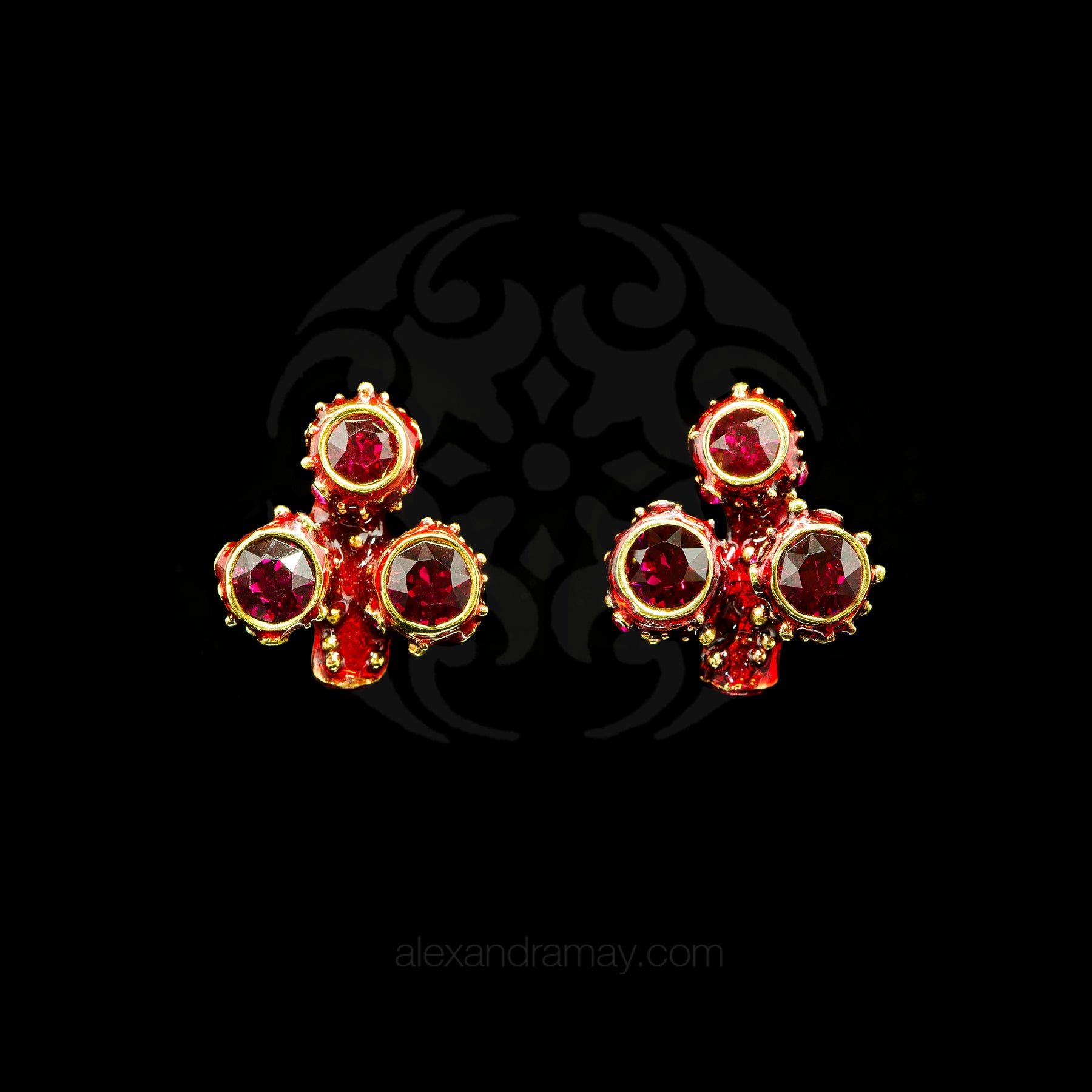 Simon Harrison Fabulous Small Red Coral Earrings (SH5189)Front