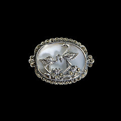 Sterling Silver & Marcasite Mother of Pearl Flamingo Brooch