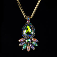 Sweet Romance Peacock Paisly Pendant Necklace (N3156) closeup