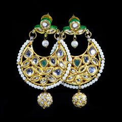 Trousseau Spectacular 'Kundan' Pearl & Enamel Large Earrings (TSU34)