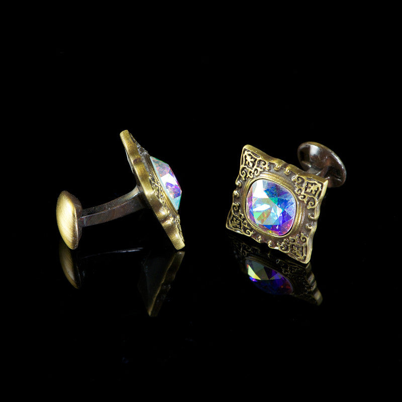 WD London Square Bronze Gothic 'AB' Crystal Cufflinks detail2