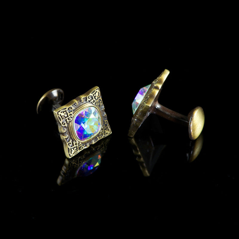 WD London Square Bronze Gothic 'AB' Crystal Cufflinks detail