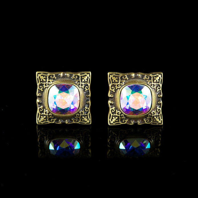 WD London Square Bronze Gothic 'AB' Crystal Cufflinks