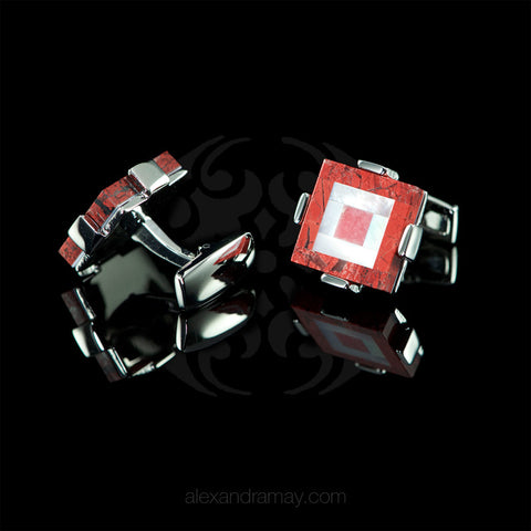 WD London Semi-precious Red Jasper Mosaic Square Cufflinks detail