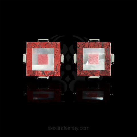 WD London Semi-precious Red Jasper Mosaic Square Cufflinks