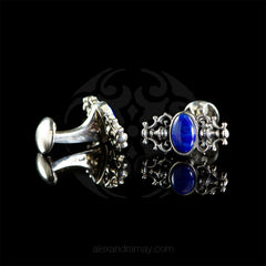 WD London Sterling Silver Lapis Lazuli Baroque Cufflinks