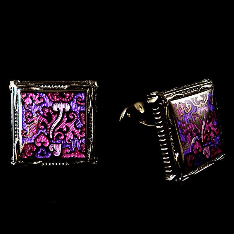 WD London Fuchsia Pink & Purple Picture Frame Enamel Cufflinks