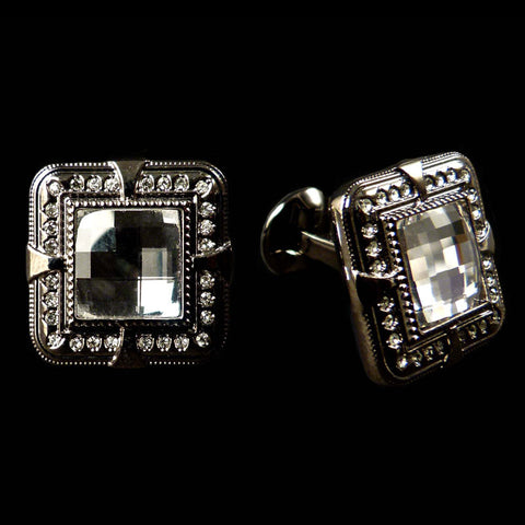 WD London Square Faceted Clear Crystal Cufflinks